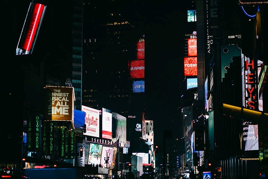 street signages, new, york, times, square, architecture, building, infrastructure, dark, night