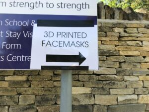 Traditional sign giving directions to 3D printed masks